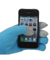 Tiger Plush Touch Gloves for iPad, iPhone 4S (Blue)