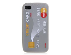 Credit Card Design Rubber Open-face for iPhone 4G/4S (Silver)