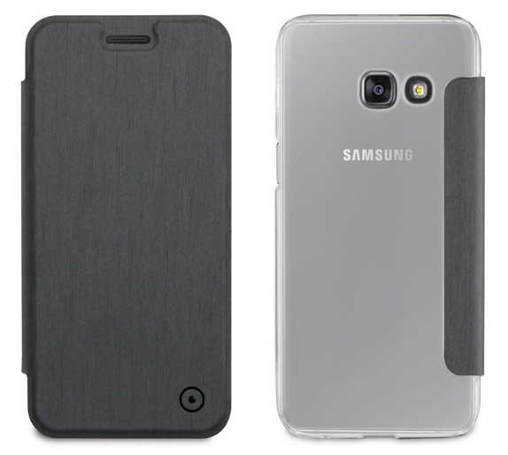 66dc4c3b549 Funda Folio Gris parte Trasera Transparente Samsung Galaxy A3 2017 Muvit