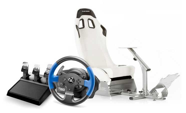 Volante Thrustmaster T150 RS Pro + Playseat Evo Blanco - Playsea